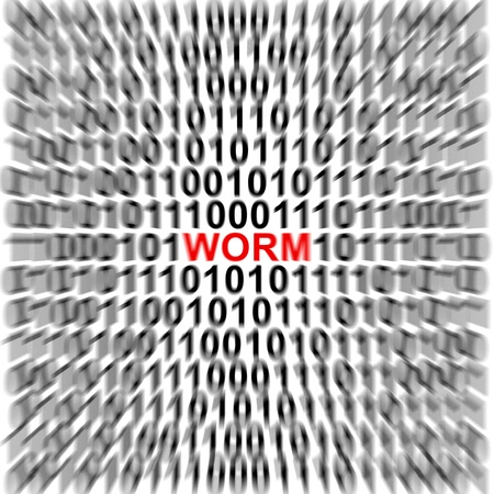 Computer Security Concept Present by Binary Code Around The Red Worm Text Stock Photo - 17404664