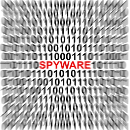Computer Security Concept Present by Binary Code Around The Red Spyware Text  Stock Photo - 17404655
