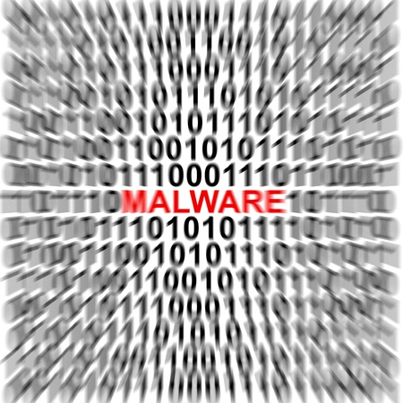 Computer Security Concept Present by Binary Code Around The Red Malware Text  Stock Photo - 17404669