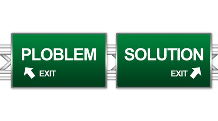 answers highway: Two Choices Of Green Highway Street Sign Between Problem and Solution Sign For Business Concept Isolate on White Background  Stock Photo