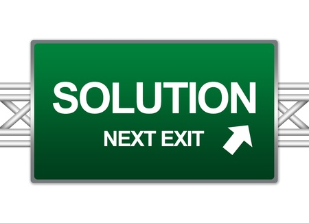 Green Highway Street Sign For Business Concept Present By Solution Next Exit Sign Isolate on White Background  photo