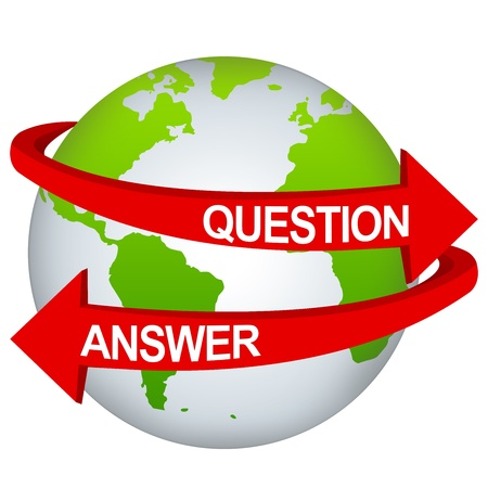 interrogatory: Red Question And Answer Arrow Around The Green Earth For Business Direction Concept Isolate on White Background  Stock Photo