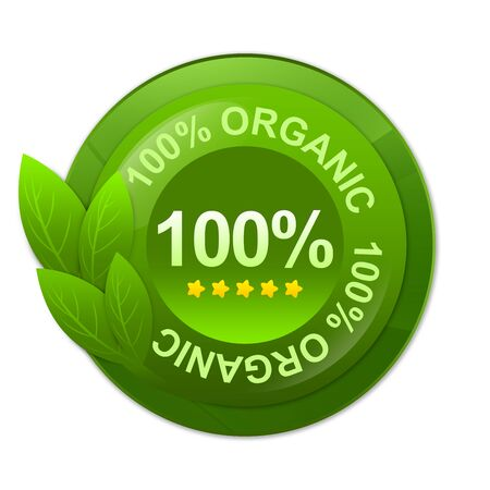 Green Glossy Style 100 Percent Organic Label Isolated on White Background  photo