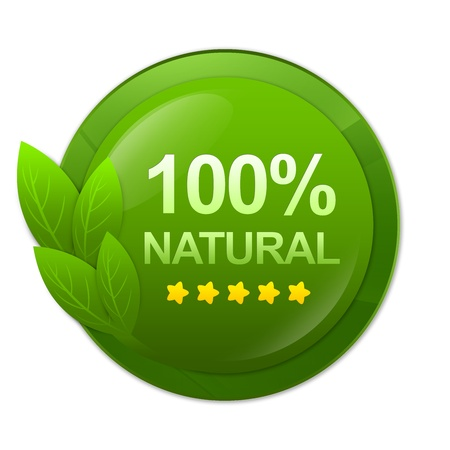 100 Percent Natural on Green Glossy Style Label Isolated on White Background  photo