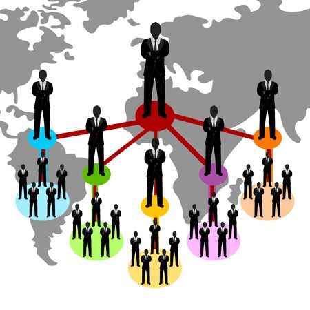 Business Network Concept Present By Multilevel Businessman Connection With World Map Background