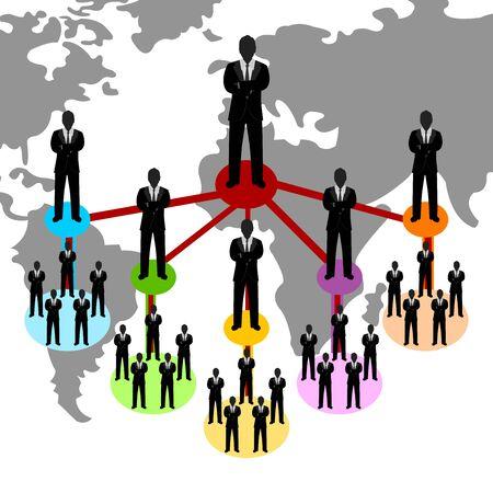 multilevel: Concetto di Business Network Presente Per connessione affari multilivello con sfondo mappa del mondo Archivio Fotografico