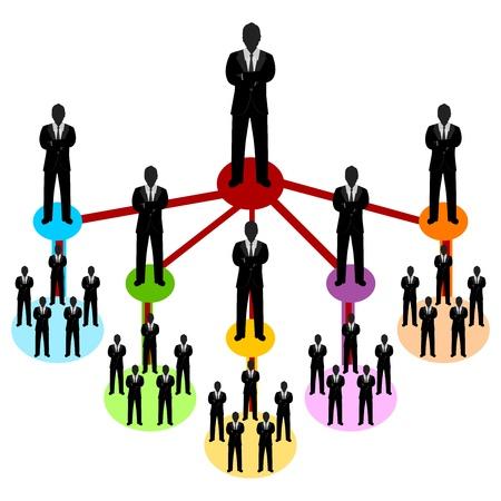 흰색 배경에 고립 된 다단계 사업가 연결을 통해 현재 비즈니스 네트워크 개념