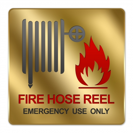 Gold Metallic Style Plate For Fire Hose Reel Emergency Use Only Sign Isolated on White Background Stock Photo - 17404850