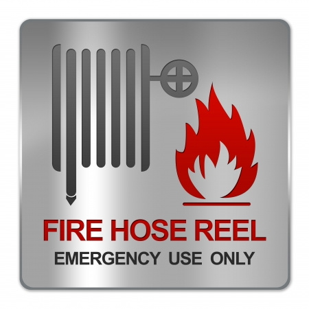 firealarm: Square Silver Metallic Plate For Fire Hose Reel Emergency Use Only Sign Isolated on White Background