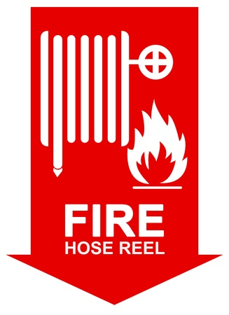 Fire Hose Reel Sign on The Red Arrow Isolated on White Background Stock Photo - 17404730
