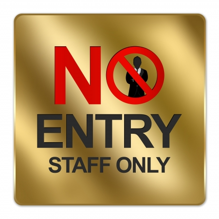 members only: Gold Metallic Style Plate For No Entry Staff Only Signs Isolated on a White Background   Stock Photo