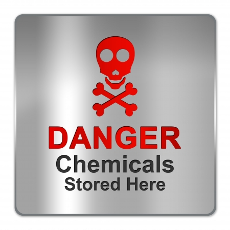 Square Silver Metallic Plate For Danger Chemicals Stored Here Sign Isolate on White Background Stock Photo - 17404823