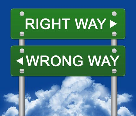 Green Right Way and Wrong Way Traffic Sign in Blue Sky Background photo