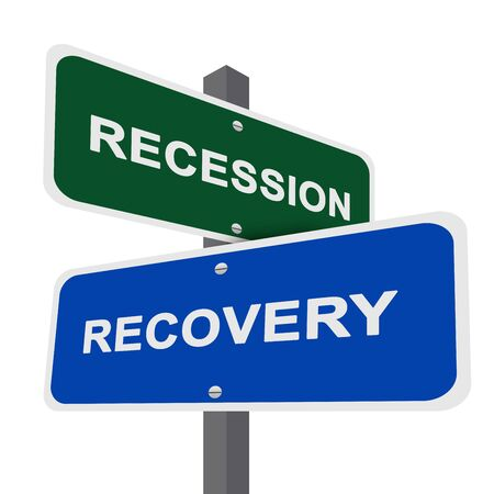 Concept of Decision Present By Two Way Street Sign Pointing to Recession and Recovery Isolated On White Background  Stock Photo - 17404735