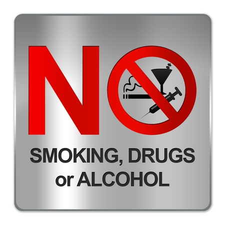 Square Silver Metallic Plate For No Smoking, Drug or Alcohol Sign Isolate on White Background  photo