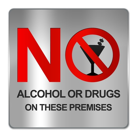 non alcoholic beer: Square Silver Metallic Plate For No Alcohol Or Drug On These Premises Sign Isolate on White Background