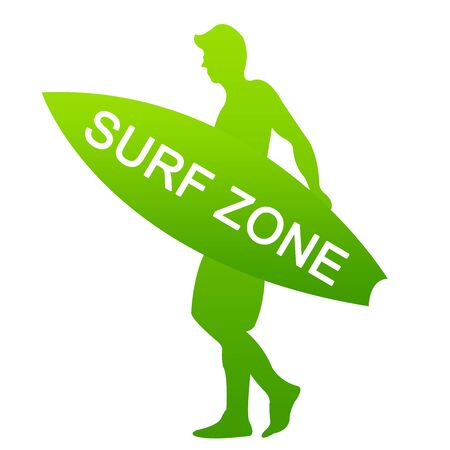 Green Surf Zone Sign Isolated on White Background  photo