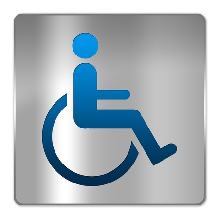 Square Silver Metallic Plate For Wheelchair Handicap Toilet Sign Isolate on White Background photo