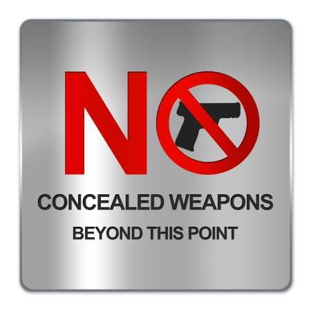 concealed: Square Silver Metallic Plate For No Concealed Weapons Beyond This Area Sign Isolate on White Background Stock Photo