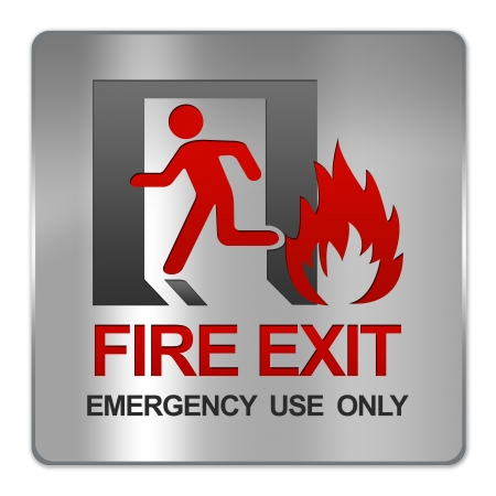 Square Silver Metallic Plate For Fire Exit Emergency Use Only Sign Isolate on White Background photo