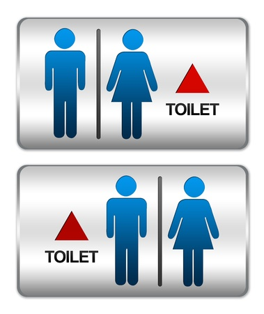 Square Silver Metallic Plate For Unisex Toilet Sign With Arrow Direction Forward Isolate on White Background Stock Photo - 17404881