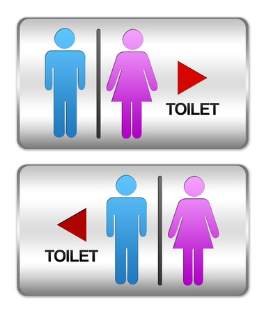 Square Silver Metallic Plate For Unisex Toilet Sign With Arrow Direction To Left and Right Isolate on White Background Stock Photo - 17404882