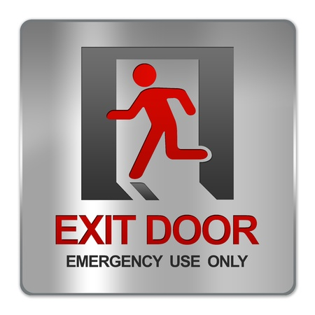 Square Silver Metallic Plate For Exit Door Emergency Use Only Sign Isolate on White Background photo