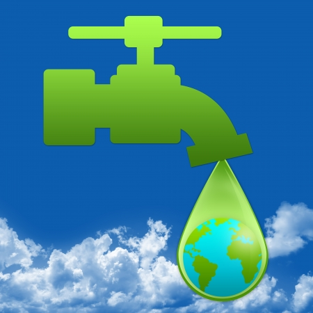 water conservation: Save Water Concept Present By Green Faucet and Water Drop With The Earth Inside in Blue Sky Background