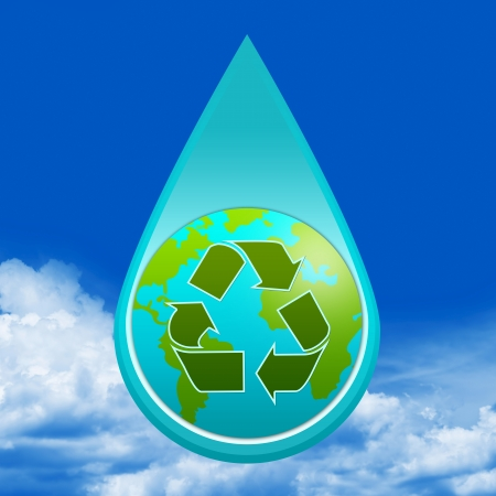 Save Water Concept Present By Water Drop With The Earth and Green Recycle Sign Inside in Blue Sky Background  photo