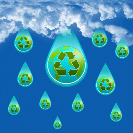 Save Water Concept Present By Rain Drop With The Earth and Green Recycle Sign Inside  photo