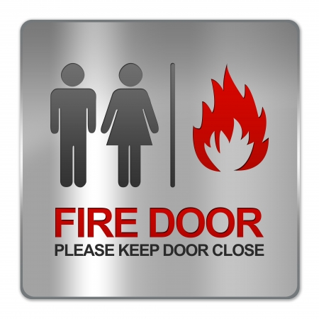 Square Silver Metallic Plate For Fire Door Please Keep Door Close Sign Isolate on White Background  Stock Photo - 17451790