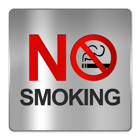 Square Silver Metallic Plate For No Smoking Sign Isolate on White Background  photo