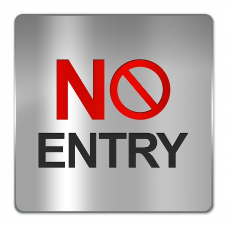 one lane street sign: Square Silver Metallic Plate For No Entry Sign Isolate on White Background  Stock Photo