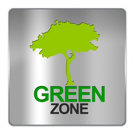Square Silver Metallic Plate For Green Zone Sign Isolated on White Background  Stock Photo - 17451915