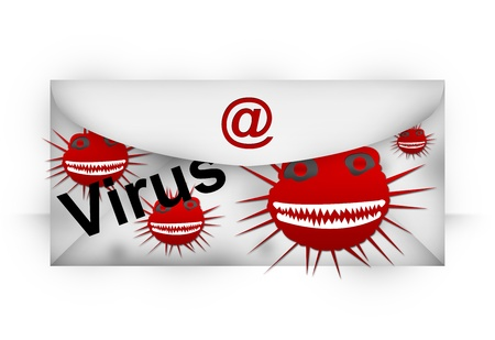 Email With Computer Viruses Attach Isolated on White Background  Stock Photo - 17452076