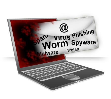 Email Fly Through The Computer Laptop Screen With Many Malicious Program Inside For Computer Network  Concept Isolated on White Background  Stock Photo - 17452080