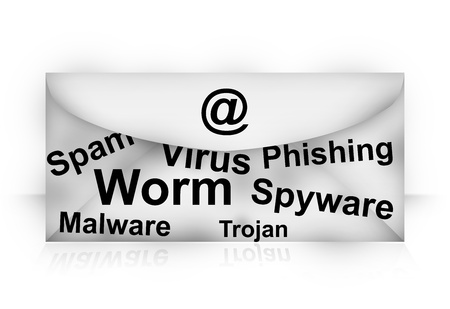 Computer Network  Concept Present By Email With Many Malicious Program Inside Isolated on White Background  photo
