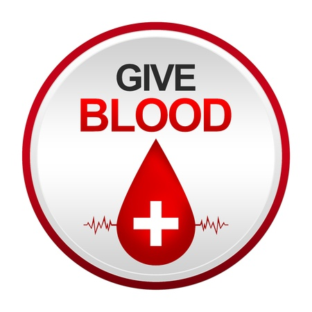 vasos sanguineos: Dar sangre Firmar con el c�rculo de la placa met�lica para la campa�a de donaci�n de sangre aislada en el fondo blanco