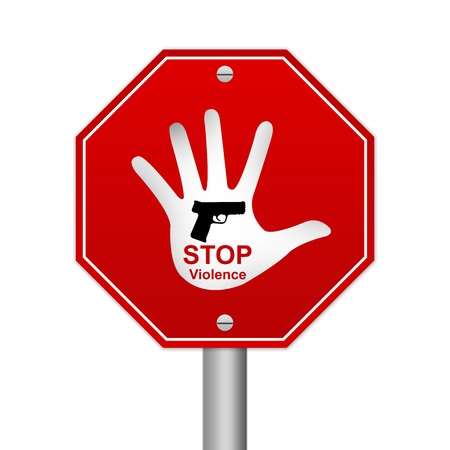 oppression: Hexagon Stop Violence Road Sign Isolated On White Background