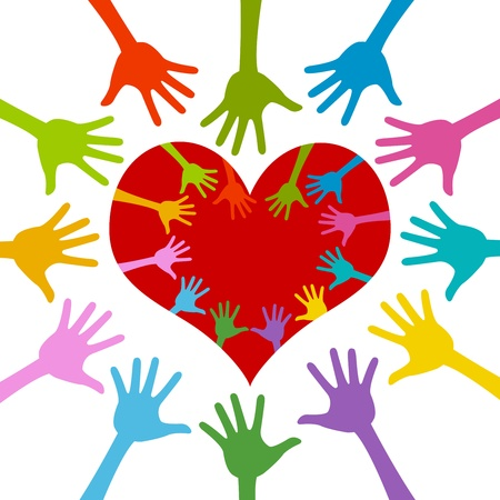 Colorful Hand Around and Inside Red Heart For Volunteer Campaign Isolated On White Background  photo
