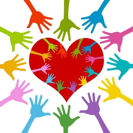 solidaridad: Mano colorida alrededor y dentro del corazón rojo para la campaña de voluntariado Aislado En El Fondo Blanco