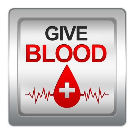 dar un regalo: Concepto de Donaci�n de Sangre, Dar Sangre texto con la gota de sangre roja y gr�fico del latido del coraz�n de la Ilustraci�n met�lico aislado en fondo blanco