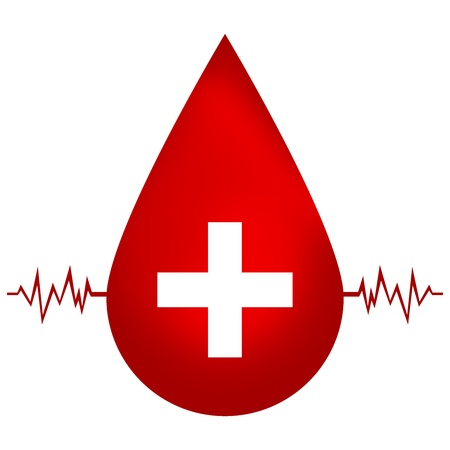 Blood Donation Concept, Red Blood Drop With Medical Sign and Heartbeat Graph Isolated On White Background  photo