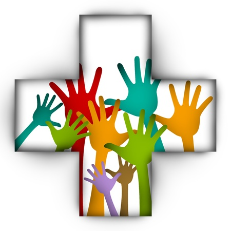 Kleurrijke Opgeheven Handen in Cross Teken Voor vrijwilliger en Stemmen Concept Geà ¯ soleerd Op Witte Achtergrond