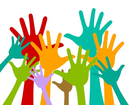 encouraging: Volunteer and Voting Concept Present With Colorful Raised Hands Isolated On White Background
