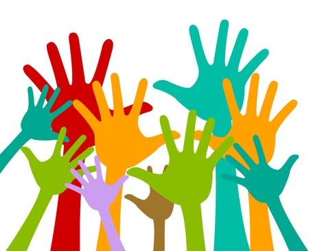 Vrijwilliger en Stemmen concept te presenteren Met Kleurrijke Opgeheven Handen Geà ¯ soleerd Op Witte Achtergrond