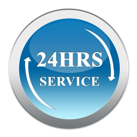 available time: Circle Blue Glossy Metallic Style 24HRS For Any 24 Hour Services Isolated on White Background Stock Photo
