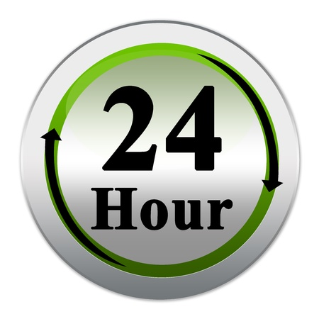 24HRS For Any 24 Hour Services Icon With Circle Blue Glossy Metallic Style Isolated on White Background  Stock Photo - 17452569
