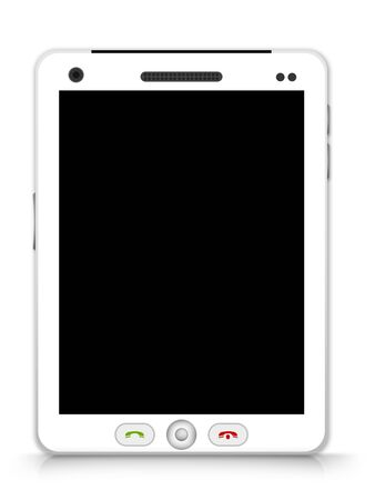 Realistic Blank White Tablet PC Isolate on White Background Stock Photo - 17452831