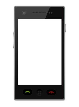 Realistic Blank White Screen Black Smart Phone Isolate on White Background  Stock Photo - 17452835